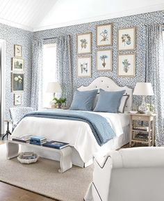Choose drapery panels in the same patterned print as your wall for a seamlessly sophisticated look.