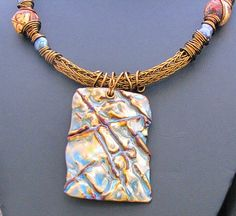 Organic Copper Enamel Necklace by WendyKayDesigns on Etsy, $95.00