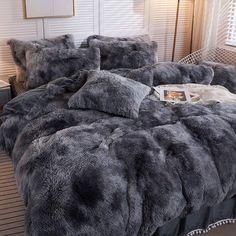 Bedroom Decor For Teen Girls, Room Ideas Bedroom, Home Decor Bedroom, Bedroom Comforter Sets, Grey Bedding, Fur Bedding, Teen Bedding Sets, Bohemian Bedding Sets, Fluffy Bedding