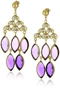 """Zariin """"Style in Chandeliers"""" Purple Quartz Gold Earrings"""