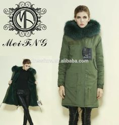 2015 new fashion women cheap fur coats army green jacket