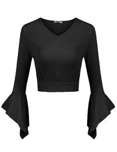 994d8cb313294 Women's Bell Sleeve Bow Tie Back V Neck Crop Top Slim Fit Midriff Blouse -  Black - C3188YU3TGE