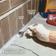 Photo 2: Fill and smooth the joint   urethane caulk foam backer rod disposable gloves
