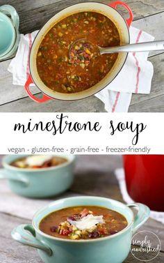 Minestrone Soup | Gluten-free, Grain-free, Vegan, Nut-free, Freezer-friendly | http://simplynourishedrecipes.com/minestrone-soup/