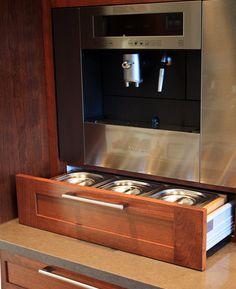 cherry wood :: coffee bar #kitchen #cabinets #coffee