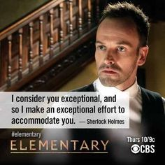 #Elementary Sherlock Holmes talking to (former Dr.) Joan Watson. I like this show a little more. #StillTooGorey