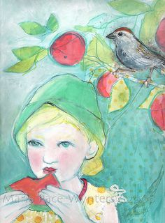 "Eating Watermelon In The Backyard , 11""x15"", mixed media on paper, 2008 by mariapacewynters, via Flickr"