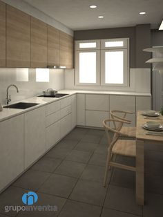 La #cocina estará distribuida en forma de L. #reformas #interiorismo #3D Kitchen And Kitchenette, Condo Kitchen, Kitchen Sets, Home Decor Kitchen, New Kitchen, Home Kitchens, Kitchen Dining, Kitchen Cabinets, Outdoor Kitchen Design