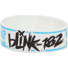 Blink-182 What's My Age Again? Rubber Bracelet | Hot Topic ($29) ❤ liked on Polyvore featuring jewelry, bracelets, accessories, rubber bracelets, band merch, rubber bangles, white jewelry and rubber jewelry