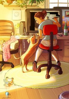 Illustrations Shows, Dog Owners Never Feel Alone By Yaoyao Ma Van As Art And Illustration, Cartoon Kunst, Cartoon Art, Urbane Kunst, Living With Dogs, Alone Art, Art Mignon, Girl And Dog, Aesthetic Art