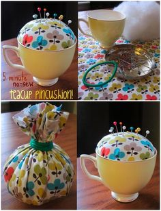 teacup pin cushion. Should work with crochet as well...