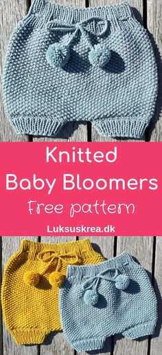 Free knitting pattern for knitted baby bloomers / knitted baby shorts / knitted baby pants. Easy and fun to knit. Free knitting pattern for knitted baby bloomers / knitted baby shorts / knitted baby pants. Easy and fun to knit. Baby Bloomers Pattern, Baby Pants Pattern, Baby Cardigan Knitting Pattern Free, Knitted Baby Cardigan, Baby Pullover, Pattern Shorts, Knitting Patterns Baby, Baby Shorts, Knit Baby Pants