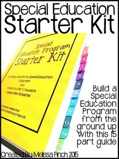 Special Education Program Starter Kit- Single Teacher License This huge 220 page manual was created to help teachers set up their own special education classrooms. This manual can be used by veteran teachers who are looking to revamp their current program Teaching Special Education, Education Jobs, Education Quotes, Education Galaxy, Texas Education, Education Conferences, Education Degree, Teacher Education, Education System