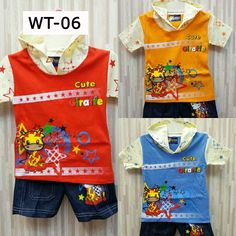 Kode: WT-06 Motif: Giraffe Varian warna: merah, orange, biru.  Kaos dengan penutup kepala. Celana jeans. . . ===================================== . Bagi yang memiliki anak atau keponakan yang masih BALITA, ada kaos dan celana lucu dan bergambar karakter kartun. Pas banget untuk dikasih kado ^_^  Kenapa beli di kami? . . * Bahan cukup tebal dengan warna-warna yang menarik :) . . * Nyaman dipakai pada saat santai, bahan katun yang tebal & tidak panas pada saat digunakan. Cocok banget buat…