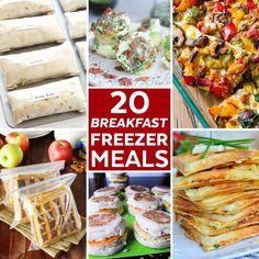 20 Breakfast Freezer Meals - Add these easy make ahead breakfast ideas into your meal plan rotation! Freezer Cooking   Freezer Breakfast   Make Ahead Meals
