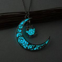 2017 сова ожерелье для женщин night lights noctilucence ювелирные изделия для женщин синий цвет ожерелье груза падения купить на AliExpress
