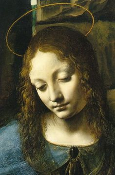 Leonardo da Vinci - Vergine delle Rocce, detail