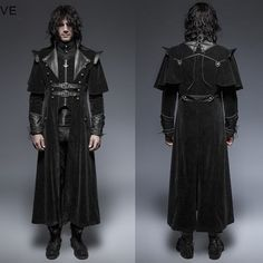 Black Double Breasted Victorian Gothic Dress Trench Coats for Men SKU-11401438