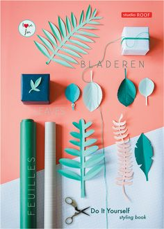 The DIY Styling Books, Green Leaves by Studio ROOF in collaboration with Ines Beeftink: 6 unique decorating ideas for both your home and yourself. You can cut it all yourself! No need to go looking for beautiful paper as the matching paper is included for 100+ leaves.