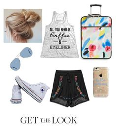 """""""Airport look"""" by jennaliford on Polyvore featuring Converse, Kate Spade, Ray-Ban and Agent 18"""