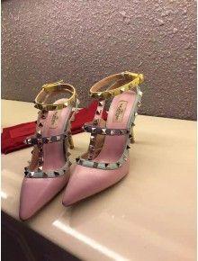 Valentino multicolour stud ankle strap pink 2015