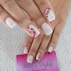 46 Ideias de Unhas com Flores Love Nails, Pretty Nails, Fun Nails, Glam Nails, Beauty Nails, French Nails, Sharpie Nail Art, Cool Nail Designs, Perfect Nails