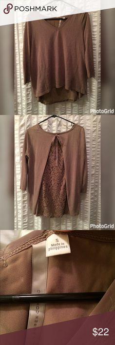 Lauren Conrad long sleeve Gently used, only worn a few times! Perfect for the fall or spring. Plain front, loose fit with open lace detail in back. LC Lauren Conrad Tops