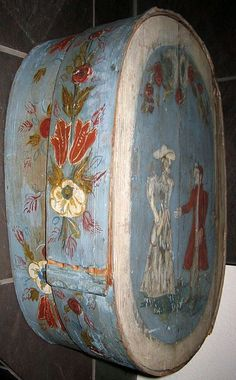 Antique Early European Painted Brides Box.