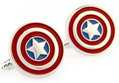 Rhodium Captain America Shield Super Hero Cufflinks - www.gadgetplus.ca