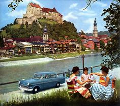 Something is fake here 1960 calendar - Opel Rekord  Location: Burghausen an der Salzach, Bavaria, Germany. Since the river markes the border bewteen Germany and Austria, this photo is taken from the Alpine country.