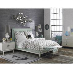 Charchoal grey wallpaper. pops of white .  Jonathan Adler Modern Romantic Bedroom