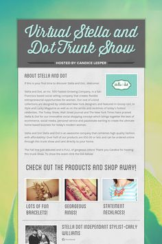 Virtual Stella and Dot Trunk Show contact your stylist www.Stelladot.com/dianapilarte