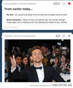 Love this, and Tom Hiddleston.