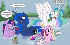 """Celestia: """"Someone told us we looked like ducks, so when we went swimming in a garden pool, Cadance started quacking and we just kept it up. The few guards nearby were trying sooo hard to not crack up laughing."""""""