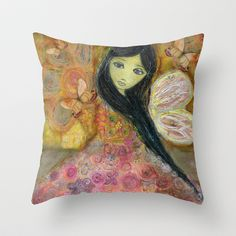 Fairy in Rose by Flor Larios Throw Pillow by Flor Larios Art - $20.00