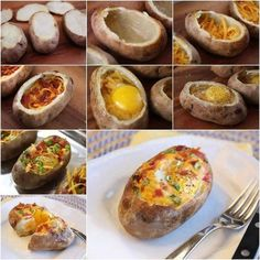 Looks delicious. Definitely need to try this yummy baked potato breakfast dish! Breakfast And Brunch, Breakfast Potatoes, Breakfast Bowls, Breakfast Recipes, Breakfast Ideas, Nutritious Breakfast, Breakfast Bake, Stuffed Baked Potatoes, Stuffed Eggs