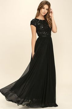 L'AMOUR BLACK SEQUIN MAXI DRESS