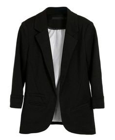Black Tailored Blazers with Rolled Cuffs