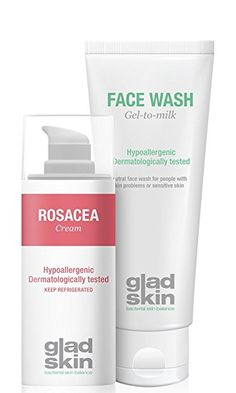 Gladskin Rosacea Cream & Face Wash Cleansing Set (combination pack) – reduces and prevents redness and irritations of the skin Ocular Rosacea, Acne Rosacea, Emotional Stress, Eye Drops, Skin Cream, Health
