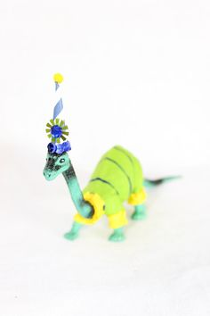"""Party Dinosaur """"Nate"""" - painted birthday decoration, cake topper, room decor on Etsy, $21.00"""