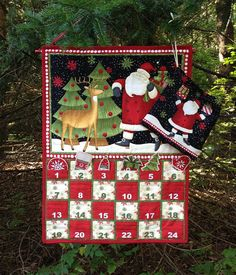 Quilted Advent Calendar with Ornaments Santa and Reindeer