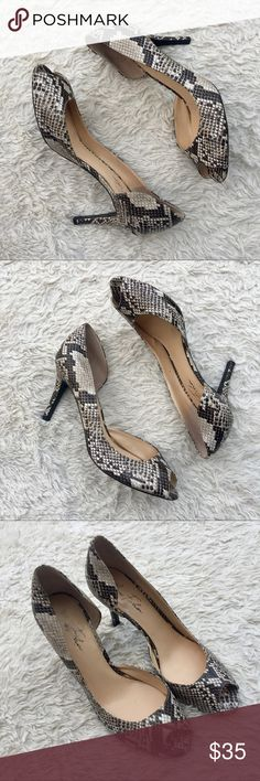 MARC FISHER Snakeskin D'Orsay Joey Peep Toe Pumps Snakeskin Embossed Leather Peep Toe D'Orsay Pumps. Slight crack on inside heel where there was a temporary comfort insole. ✨OFFERS WELCOME✨ Excellent Condition. Marc Fisher Shoes Heels