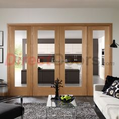 Large sides, central doors, Easi-Frame Oak Door Set, GOSHAP10-COEOP4, 2005mm Height, 2520mm Wide. #interiorroomdivdiders #directdoors