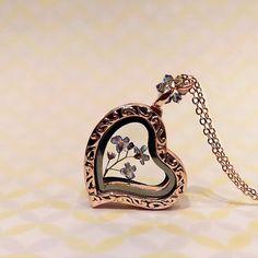 Forget Me Not Locket Necklace Pressed Flower Heart Locket