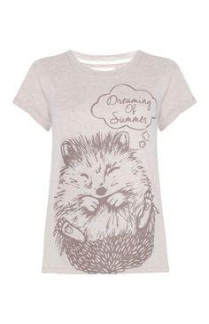 Primark - Cream Hedgehog Print T-Shirt