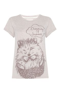 Primark - Cream Hedgehog Print T-Shirt