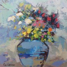 """Blue Vase 10"""" X 10"""" Art Flowers, Abstract Flowers, Flower Art, Painting Abstract, Beautiful Paintings, Flower Arrangements, Florals, Archive, My Arts"""