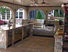 Backyard Kitchen Outdoor Cooking Station Ideas For 2019 Backyard Kitchen, Outdoor Kitchen Design, Kitchen Decor, Kitchen Ideas, Outdoor Kitchens, Backyard Patio, Kitchen Layout, Kitchen Interior, Kitchen Storage