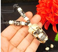 Unique & Rare Hand Carved Bone Skull Pendant With Leather Chain Jewelry NJ1365 #Handmade