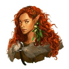Female Elf Druid or Ranger Portrait - Pathfinder PFRPG DND D&D d20 fantasy
